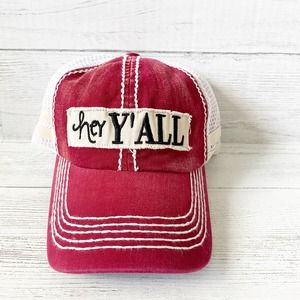 Red Hey Y'all Snapback Truckers Hat
